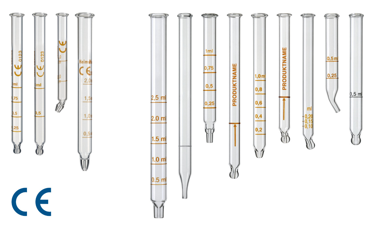 Glass pipettes graduations, normal and CE