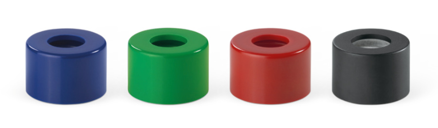 Threaded hole closures cosmetics, coloured duroplastic