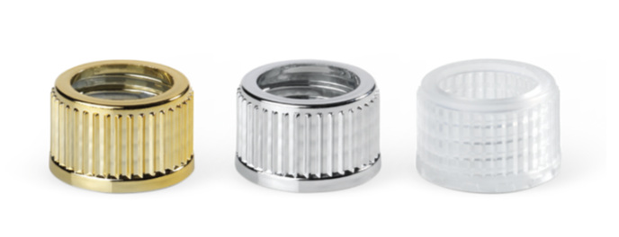 Grooved threaded hole closures, metallised or transparent