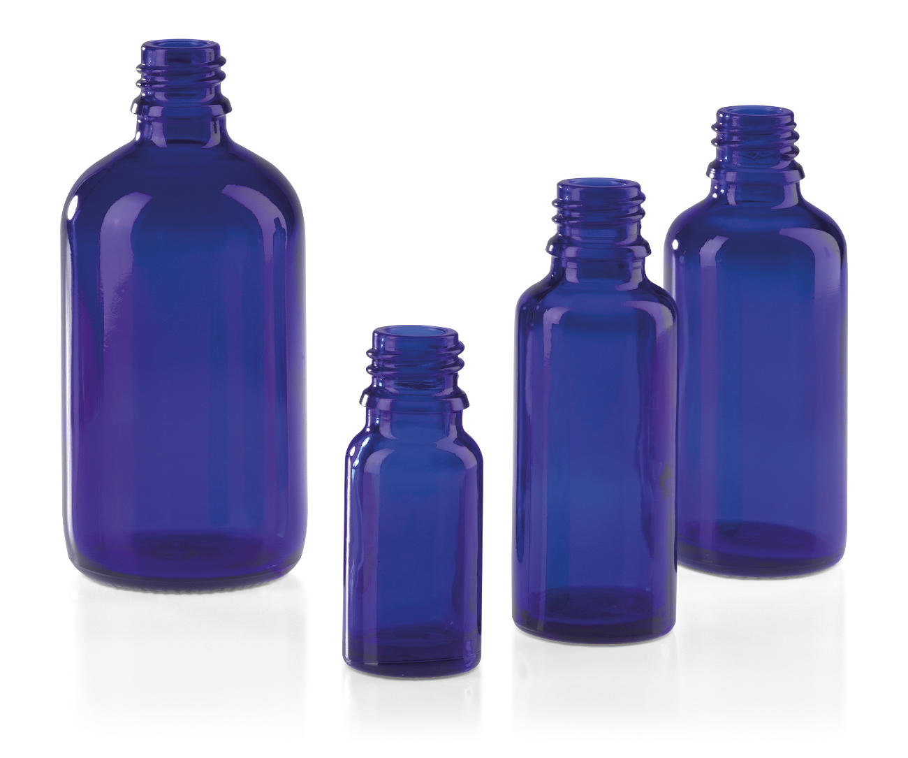Blow-moulded bottles for pharmaceuticals, blue