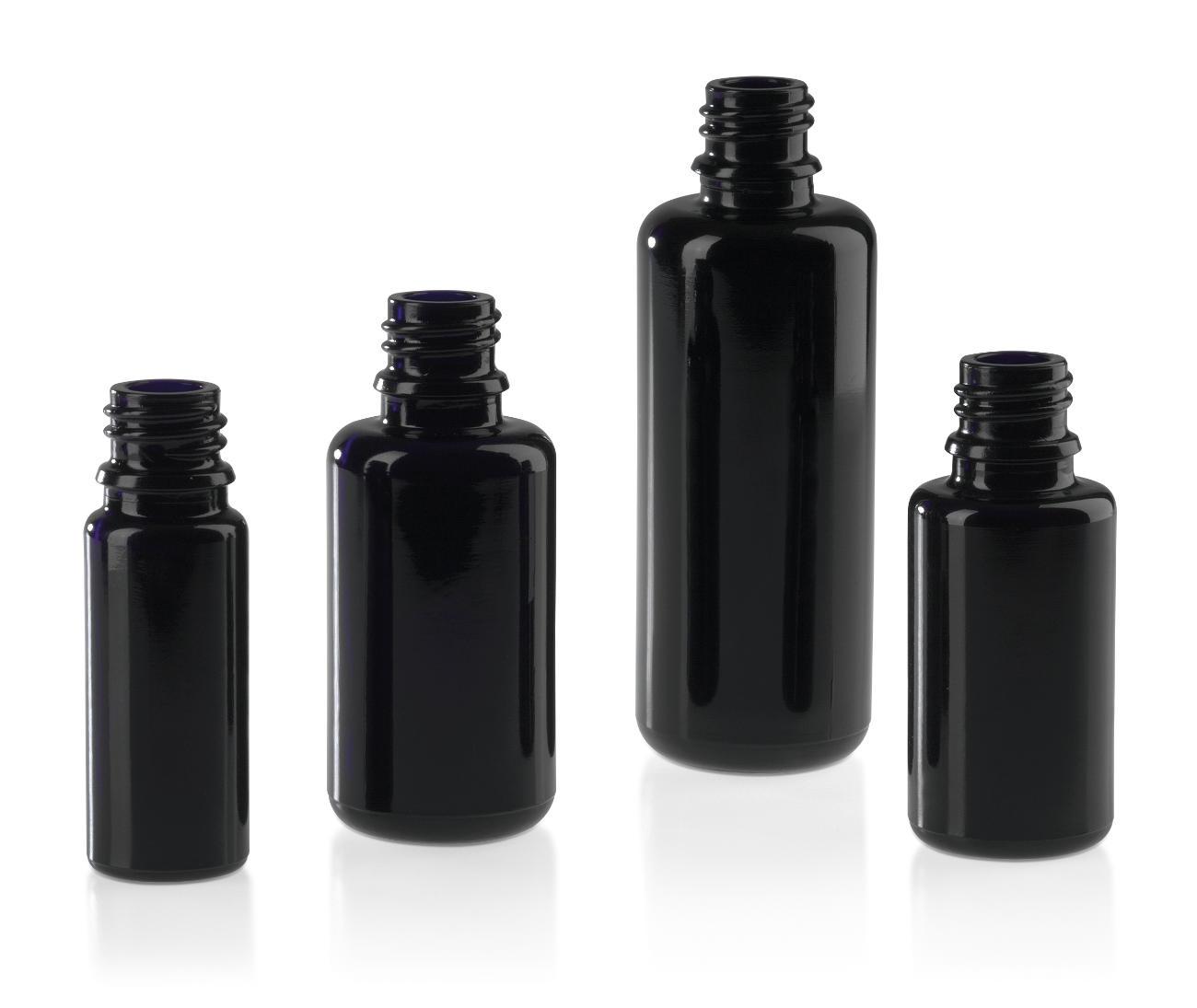 Flacons pharmaceutiques en verre: verre moulé noir