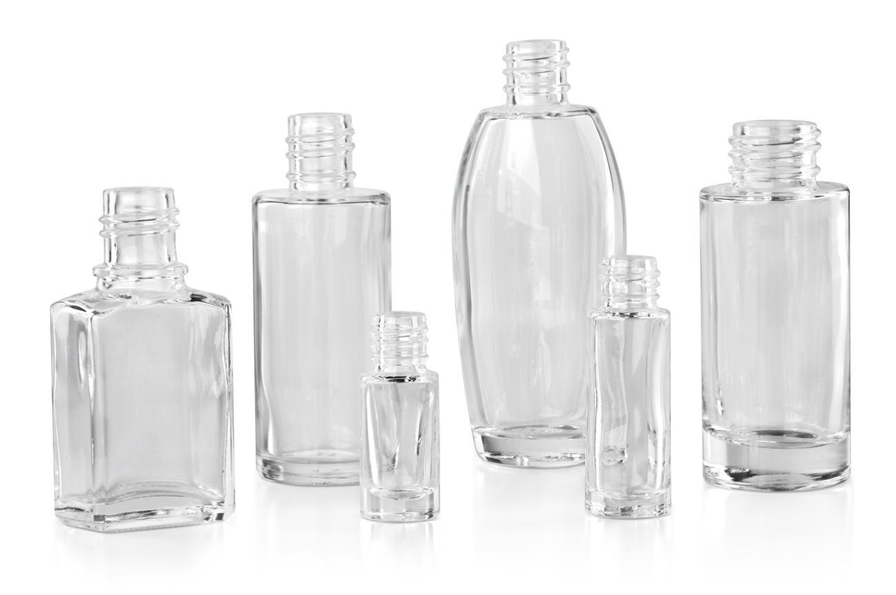 Flacons cosmétiques en verre: verre moulé clair