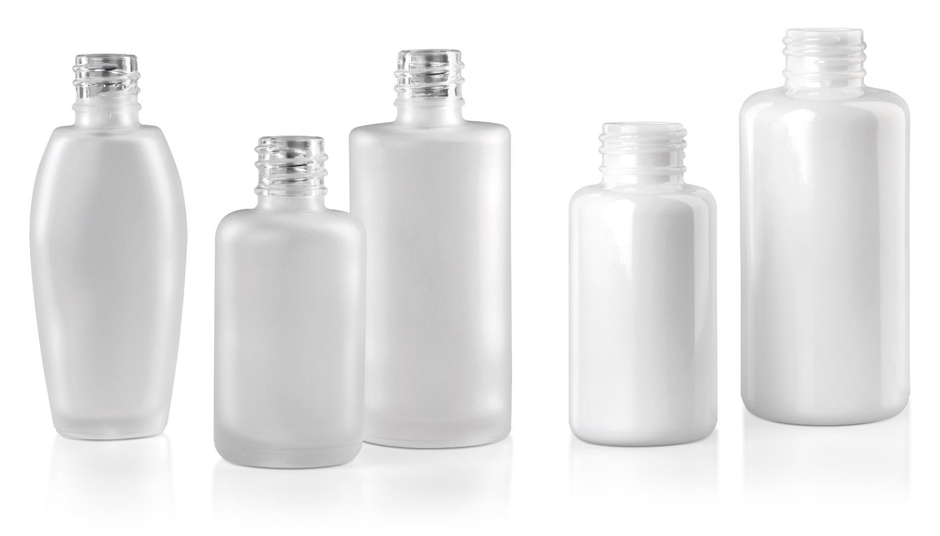 Flacons cosmétiques en verre: verre moulé mat et opalin