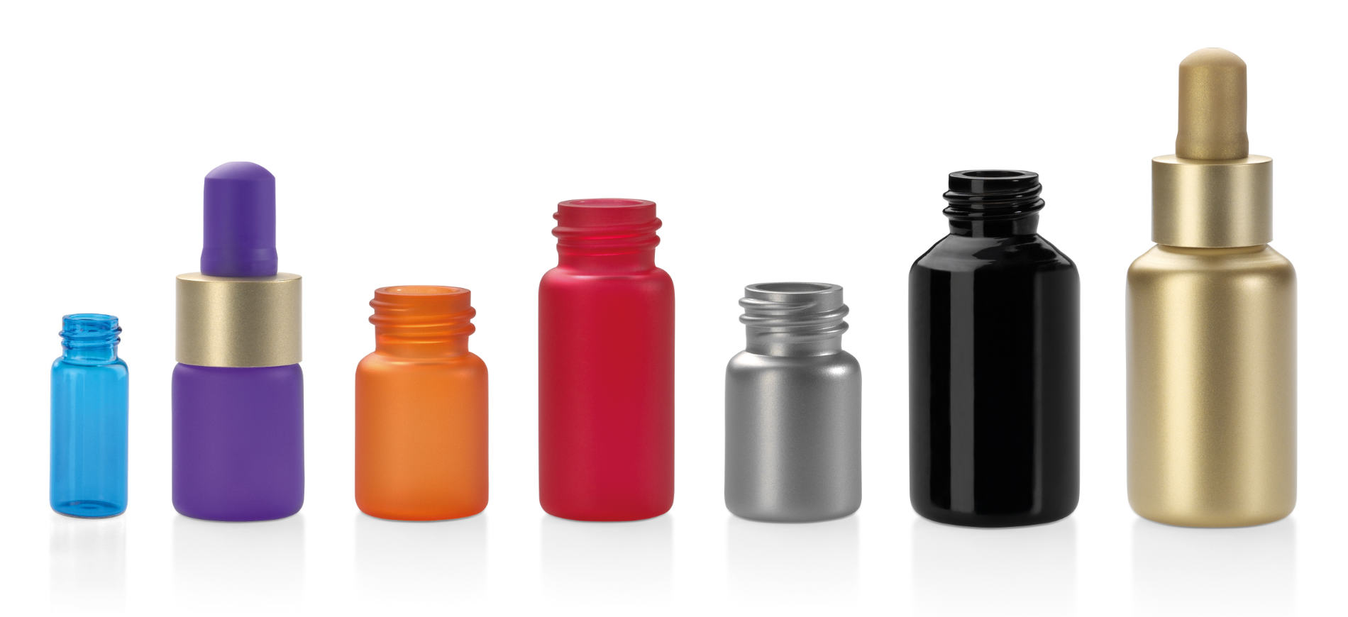 Colours and finishing options for glass tube bottles for cosmetics