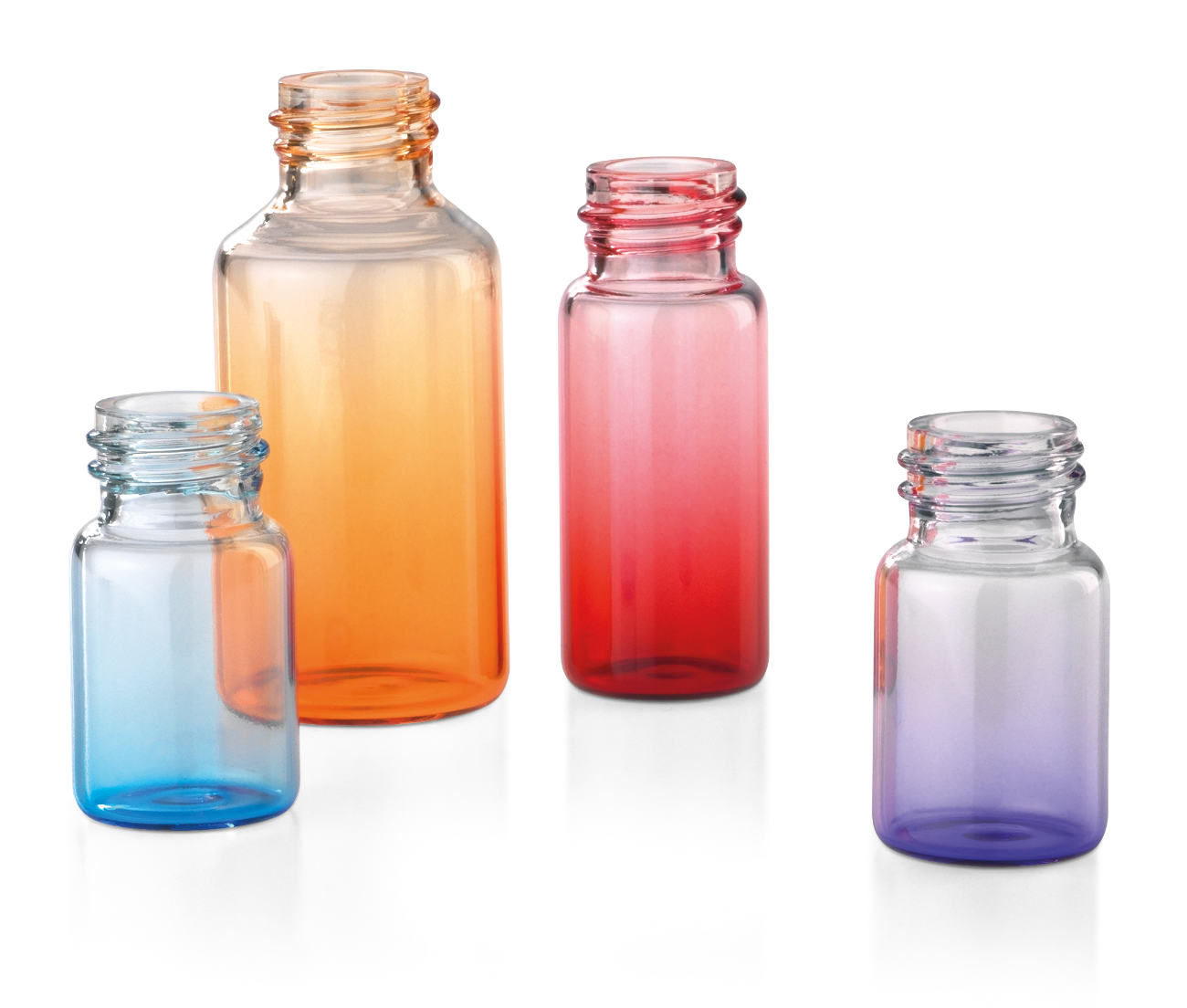Glass tube bottles for cosmetics, colored with gradient
