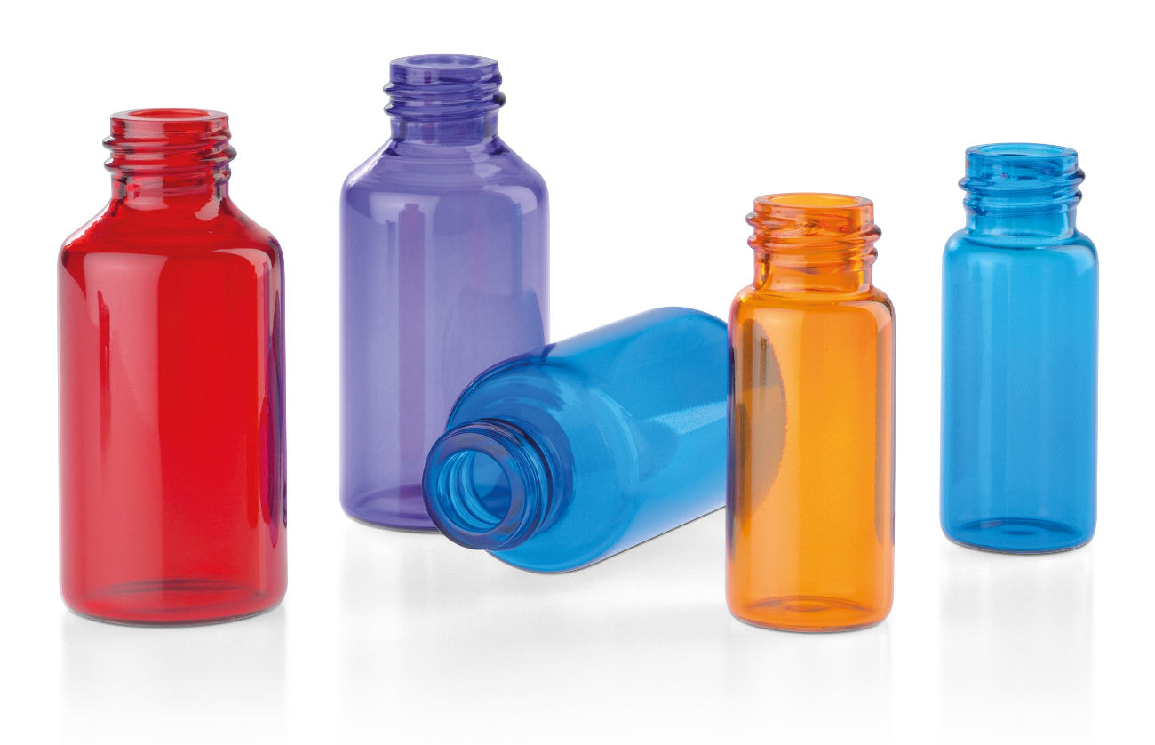 Glass tube bottles for cosmetics, coloured