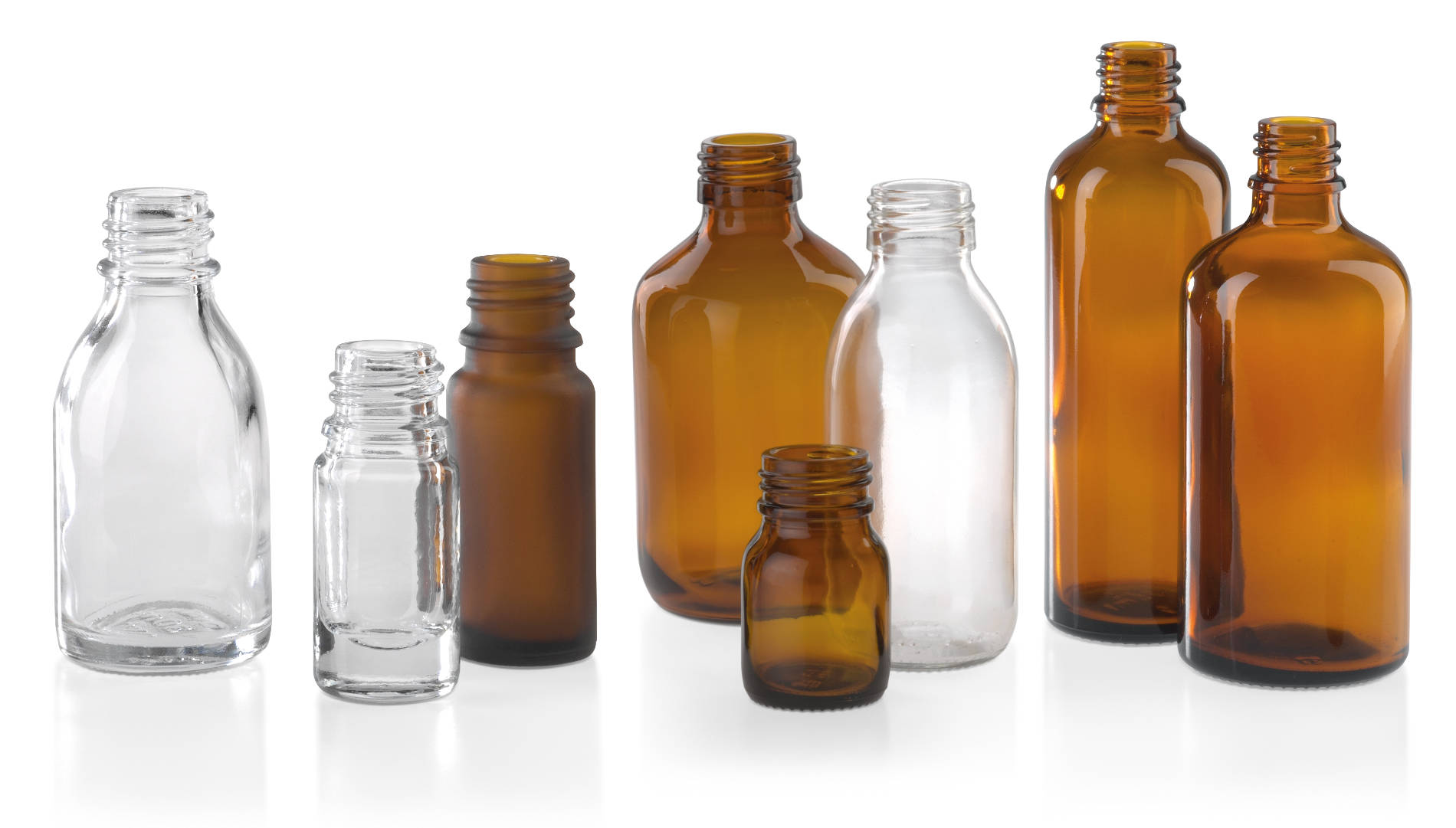 Blow-moulded bottles for pharmaceuticals, brown and clear