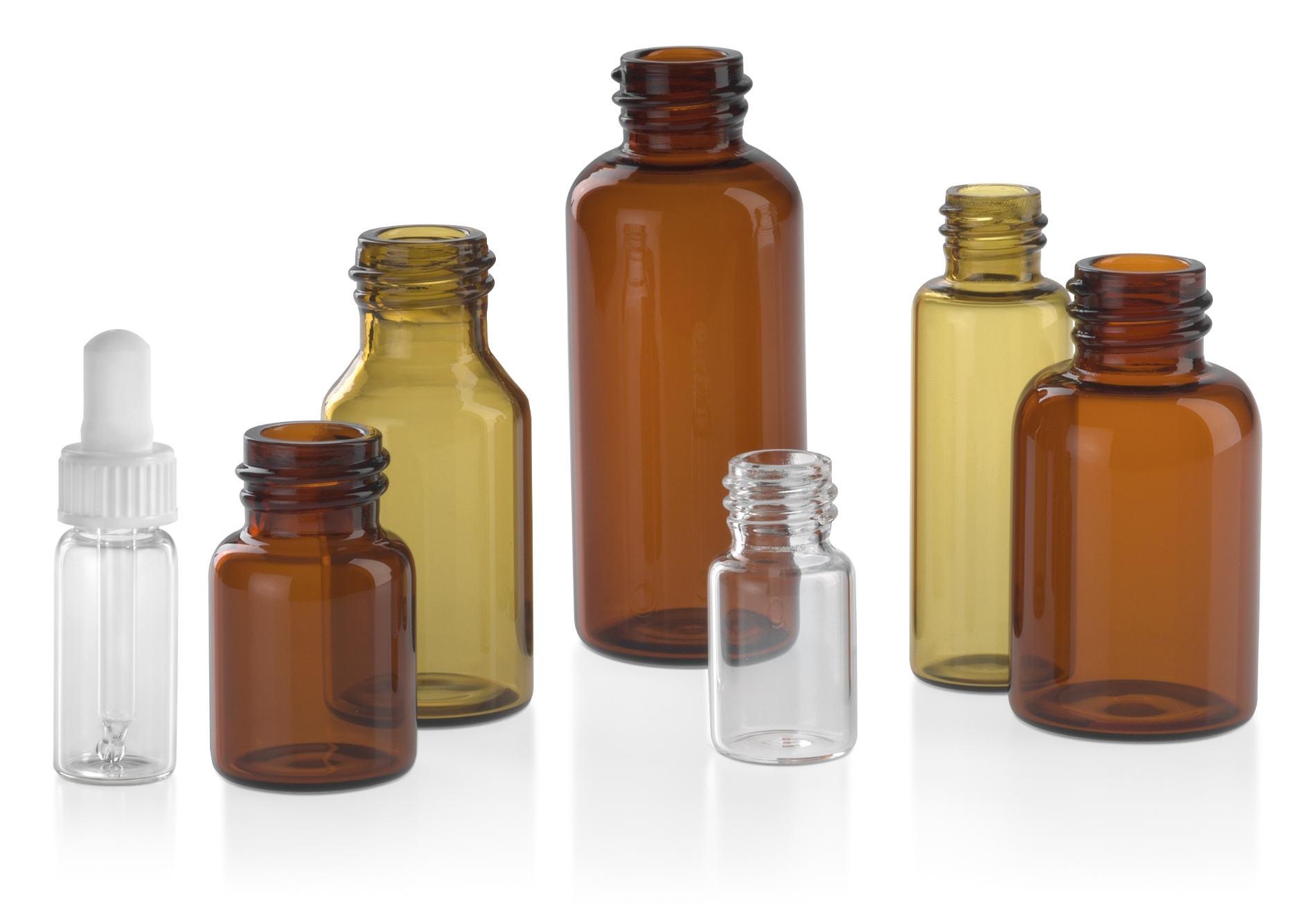 Flacons pharmaceutiques en verre: verre étiré ambré et clair