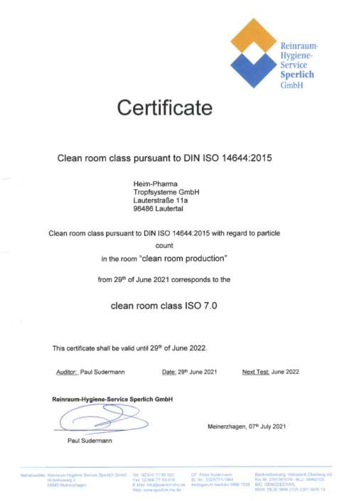 Certificate DIN-ISO 14644 clean room