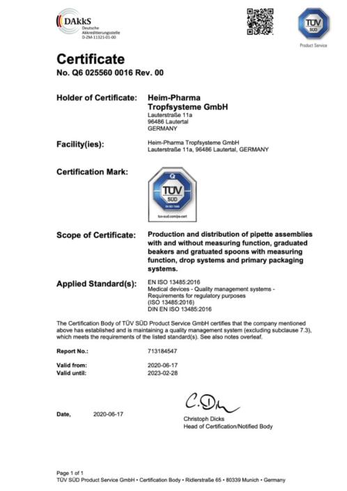 Certificat norme EN ISO 13485
