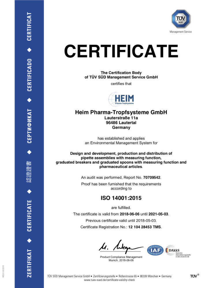 Certificat norme environnementale ISO 14001