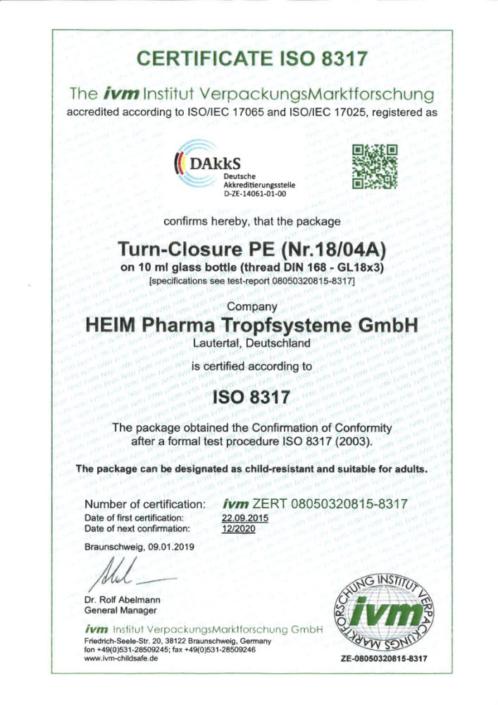 Certificado ISO 8317 tapón de rosca de seguridad para niños