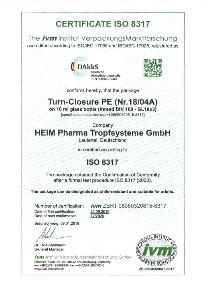 Certificat bouchon sécurité enfant ISO 8317