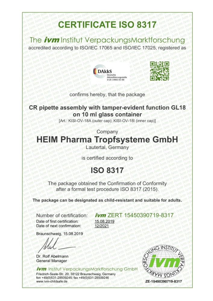 Certificat monture pipette sécurité enfant ISO 8317