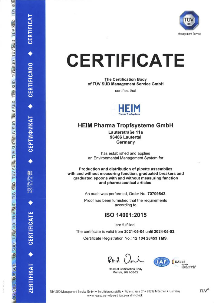 Certificate ISO 14001